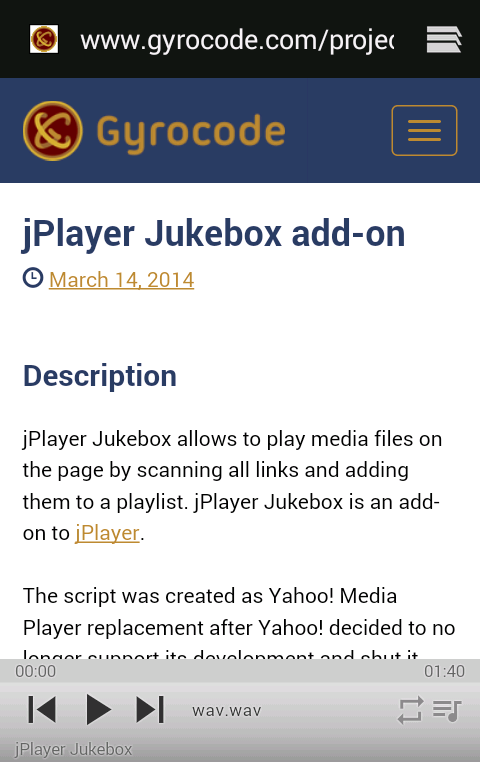 jPlayer Jukebox add-on on mobile device