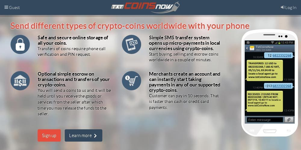 TxtCoinsNow.com (Front page)